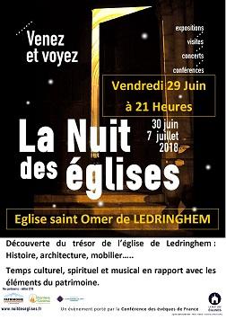 La Nuit des Églises dans l'Église St Omer de Ledringhem : Vendredi 29 juin 2018 à21h00