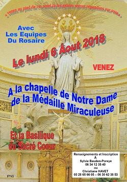 Pèlerinage à la Chapelle de la Médaille Miraculeuse : 06 août2018