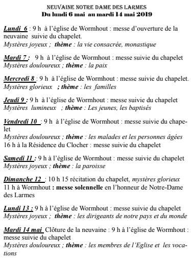 Planning Notre Dame des Larmes